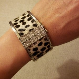 EUC- Ann Taylor silver & calf hair bangle cuff